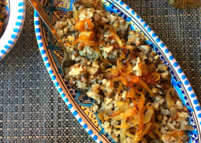 riso lenticchie cipolle caramellate